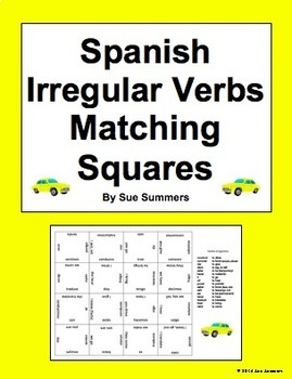 Spanish Irregular Verbs (Conjugated) Matching Squares Puzzle