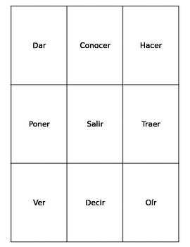 Spanish Irregular Verb Playing Cards: Present tense