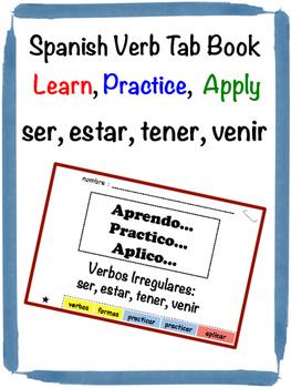 Spanish Irregular Verbs (ser, estar, tener, venir) Tab Book