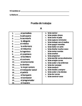 Spanish Job Vocabulary Quiz: Exprésate Dos Capítulo 2