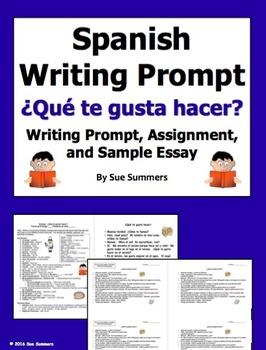 Spanish Likes and Dislikes Writing Prompt - Gustar Verbs