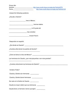 Spanish Listening Proficiency - Me presento (worksheet and