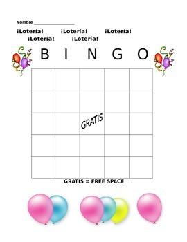 Spanish Loteria/Bingo Card