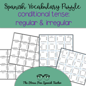 Spanish Matching Squares Conditional Verb Tense: Regular &