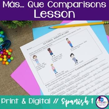 Spanish Más... Que Comparisons Lesson