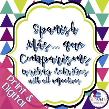 Spanish Más... Que Comparisons Writing Activities