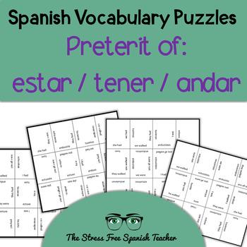 Spanish Matching Squares PUZZLE: Irregular Preterite Verbs