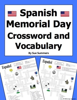 Spanish Memorial Day Crossword Puzzle Worksheet and Vocabulary