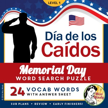 Spanish Memorial Day: Día de los Caídos Vocabulary Sheet a