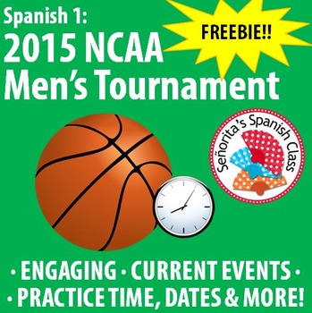 Spanish - Men's NCAA Tournament 2015 FINAL FOUR - Fun worksheet!