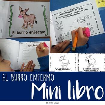 Spanish Mini book: El burro enfermo + Vocabulary + Reading