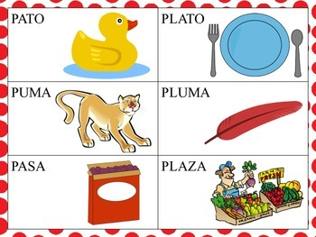 Spanish Minimal Pairs with PL blends in the Initial Positi