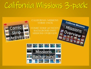 """""""Spanish Missions in California ALL 3 PPTs bundle (comics,"""