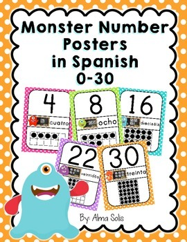 Spanish Monster Number Posters 0-30