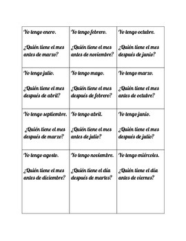 Spanish Months and Days- I have ___ Who has ___? Speaking