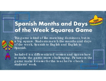 Spanish Months and Days of the Week Square Game