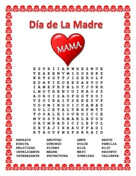 Spanish Mother's Day - Word Search and Cross Word Puzzle-D