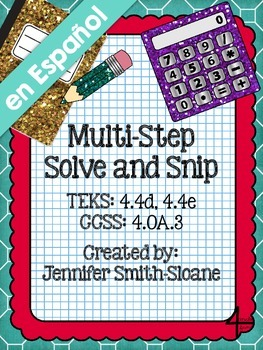 Spanish Multi-Step Word Problems Solve and Snip