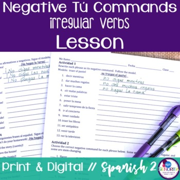 Spanish Negative Tú Commands Lesson - Irregular Verbs