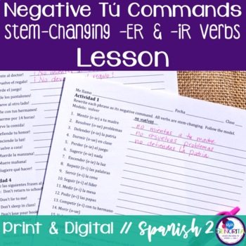 Spanish Negative Tú Commands Lesson - Stem-Changing -ER & -IR