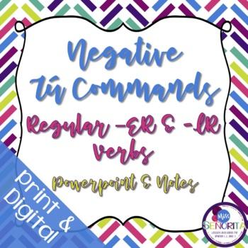 Spanish Negative Tú Commands Powerpoint & Notes - Regular