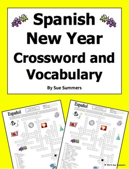 Spanish New Year Crossword Puzzle Worksheet and Vocabulary