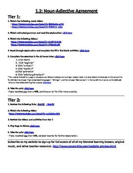 Spanish Noun Adjective Agreement Internet Activities