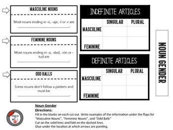 Spanish Noun Gender Interactive Notebook Page