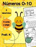 Spanish Numbers 0-10, mazes, laberintos, cut & paste, cort