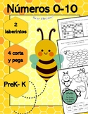 Spanish Numbers 0-10, mazes, laberintos, cut & paste, cort