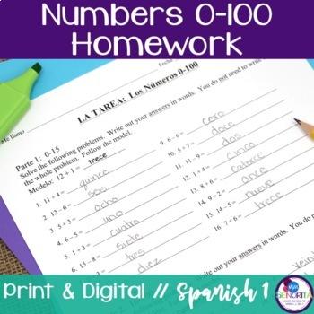 Spanish Numbers 0-100 Homework
