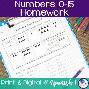 Spanish Numbers 0-15 Homework