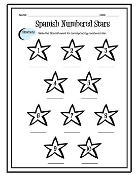 Spanish Numbers 1-10 Worksheet