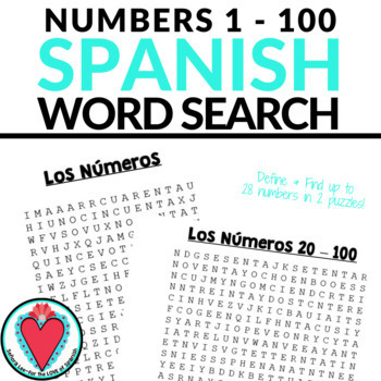 Spanish Numbers Word Search 1- 100