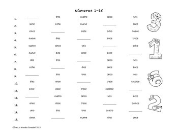 Spanish Numbers 1-15 Worksheet or Center Activity