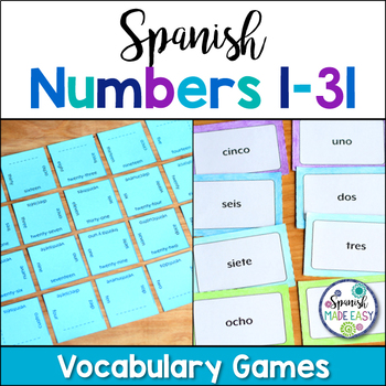Spanish Numbers 1-31 Matching Squares and Flash Cards