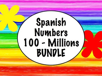 Spanish Numbers 100-Millions BUNDLE- Slideshow, Worksheets