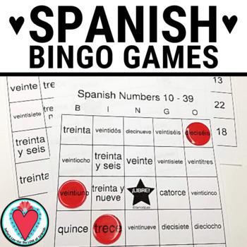 Spanish Number BINGO - Numbers 10 - 39