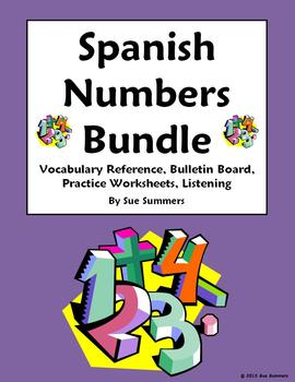 Spanish Numbers Bundle - Vocabulary, Practice, Bulletin Bo
