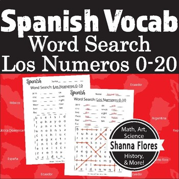 Spanish Numbers Word Search - 1 to 10; Translate into Span
