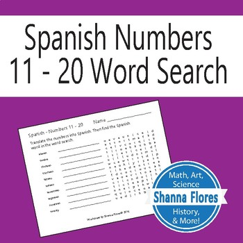 Spanish Numbers Word Search - 11 to 20; Translate into Spa