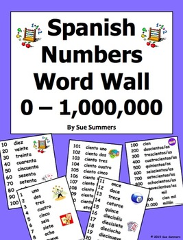 Spanish Numbers Word Wall - Los Numeros Pared de Palabras