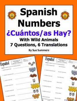 Spanish Numbers and Wild Animals Vocabulary - ¿Cuántos hay?