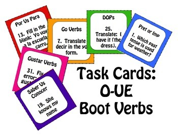 Spanish O-UE Boot Verb Task Cards