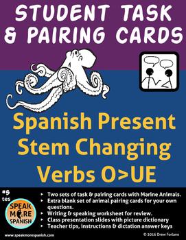 Spanish - Ocean Student Pairing Cards * Stem Changing Verb