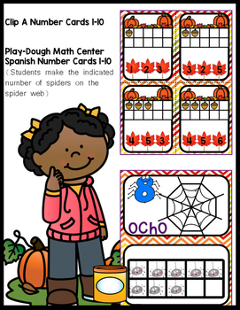Spanish October Play-Dough Numbers Mat