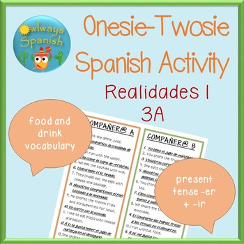 Spanish Onesie Twosie - Verb Conjugations + Food/Drink Voc
