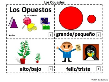 Spanish Opposites 2 Booklets - Los Opuestos