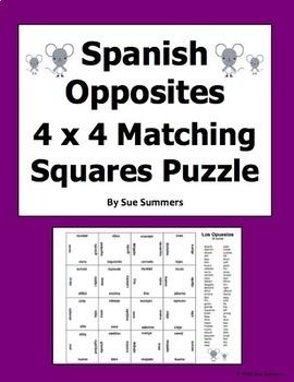 Spanish Opposites 4 x 4 Matching Squares Puzzle