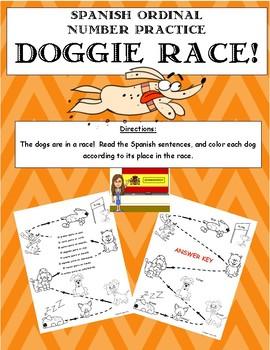Spanish Ordinal Number Practice- Doggie Race